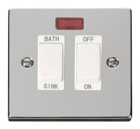 Click Deco Polished Chrome 20A DP Sink & Bath Switch With Neon White Insert VPCH024WH