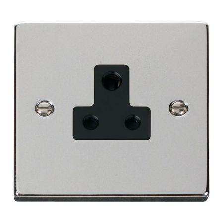 Click Deco Polished Chrome 5A Round Pin Single Socket Black Insert VPCH038BK
