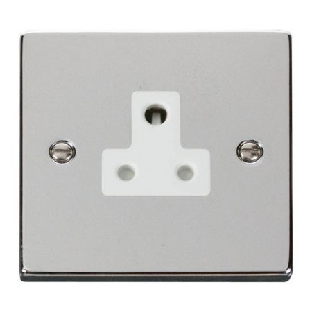 Click Deco Polished Chrome 5A Round Pin Single Socket White Insert VPCH038WH