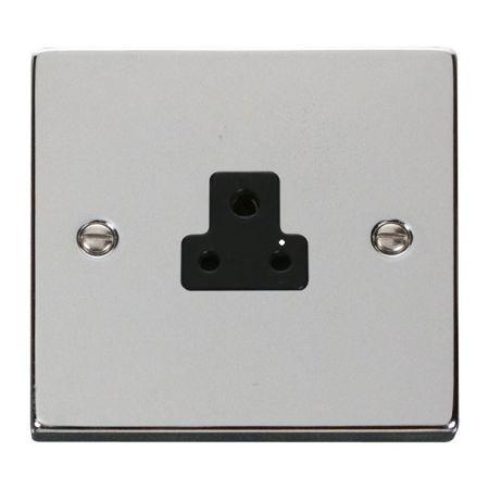 Click Deco Polished Chrome 2A Round Pin Single Socket Black Insert VPCH039BK