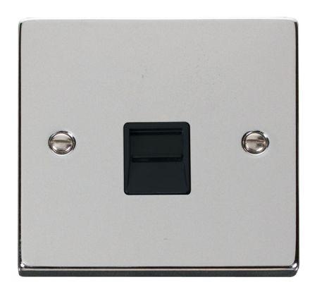 Click Deco Polished Chrome Single Telephone Master Socket Black Insert VPCH120BK