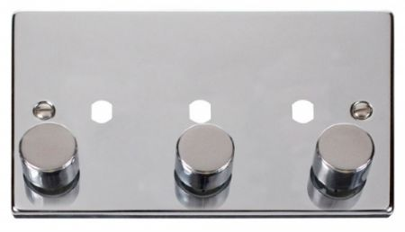 Click Deco Polished Chrome 3G Empty Dimmer Plate | VPCH153PL
