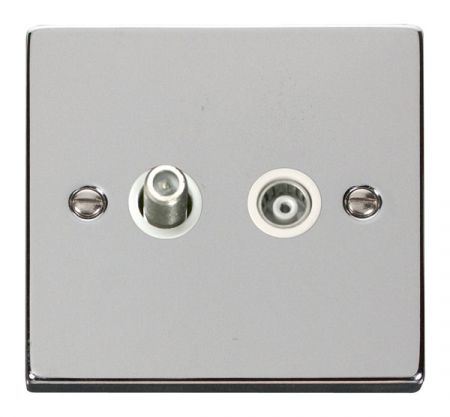 Click Deco Polished Chrome Satellite and Coaxial Socket White Insert VPCH157WH