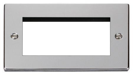 Click Deco Quad Aperture Polished Chrome Unfurnished New Media Plate VPCH312