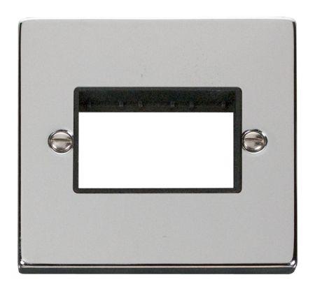 Click Deco Triple Switch Aperture Polished Chrome Unfurnished Plate Black Insert VPCH403BK