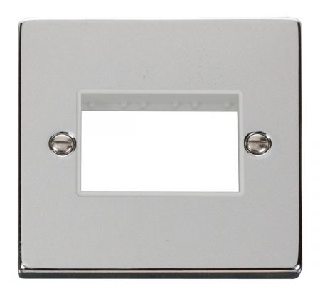 Click Deco Triple Switch Aperture Polished Chrome Unfurnished Plate White Insert VPCH403WH