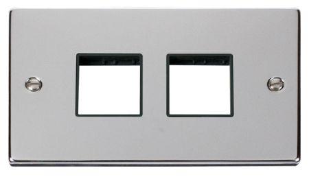 Click Deco (2+2) Switch Aperture Polished Chrome Unfurnished Plate Black Insert VPCH404BK