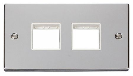Click Deco (2+2) Switch Aperture Polished Chrome Unfurnished Plate White Insert VPCH404WH