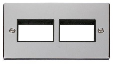 Click Deco (3+3) Switch Aperture Polished Chrome Unfurnished Plate Black Insert VPCH406BK