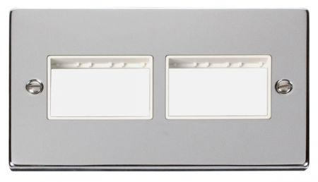 Click Deco (3+3) Switch Aperture Polished Chrome Unfurnished Plate White Insert VPCH406WH