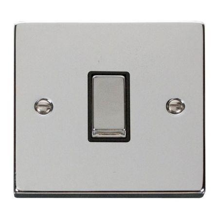 Click Deco Ingot Polished Chrome 1 Gang Light Switch Black Insert VPCH411BK