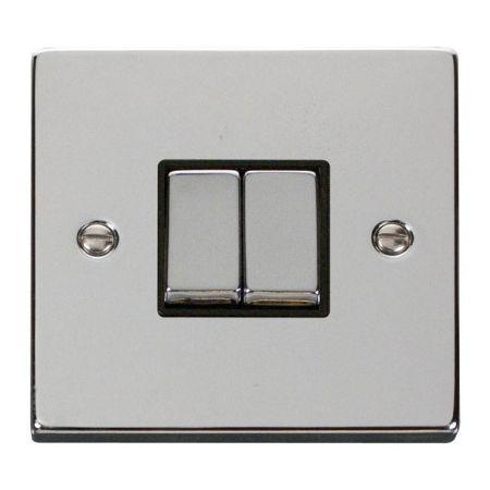 Click Deco Ingot Polished Chrome 2 Gang Light Switch Black Insert VPCH412BK