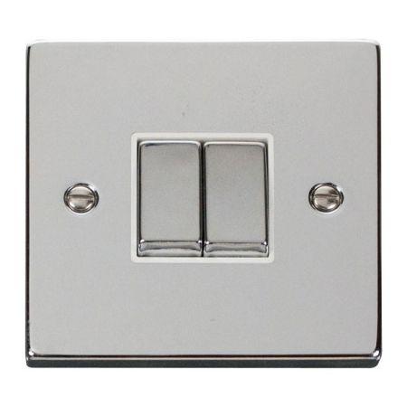 Click Deco Ingot Polished Chrome 2 Gang Light Switch White Insert VPCH412WH