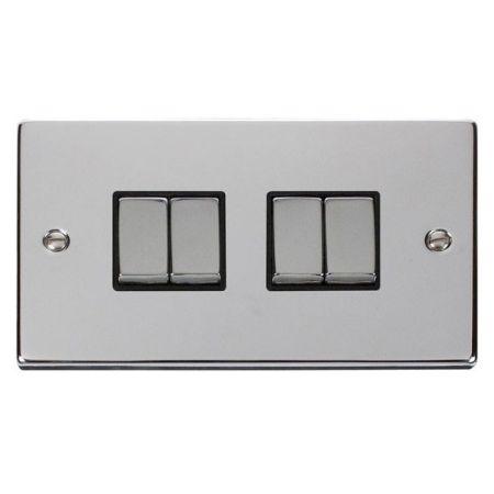 Click Deco Ingot Polished Chrome 4 Gang Light Switch Black Insert VPCH414BK