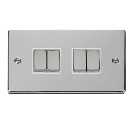 Click Deco Ingot Polished Chrome 4 Gang Light Switch White Insert VPCH414WH