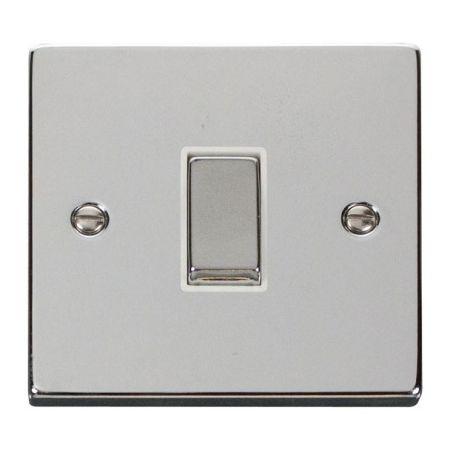 Click Deco Ingot Polished Chrome 1 Gang Light Switch White Insert VPCH411WH