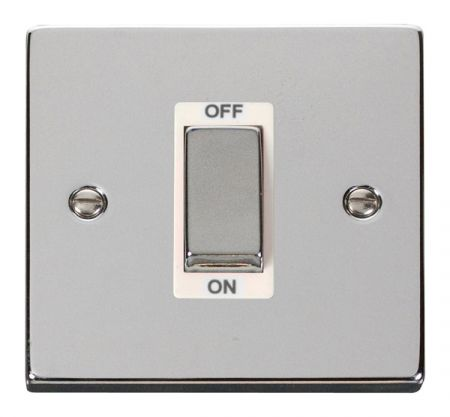 Click Deco Ingot Polished Chrome 45a DP Single Cooker Switch White Insert VPCH500WH