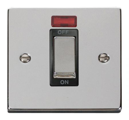 Click Deco Ingot Polished Chrome 45a DP Single Cooker Switch & Neon Black Insert VPCH501BK