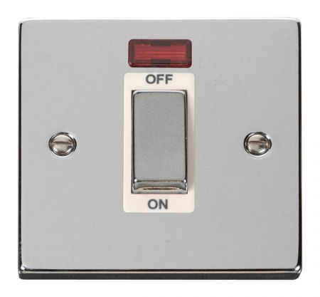 Click Deco Ingot Polished Chrome 45a DP Single Cooker Switch & Neon White Insert VPCH501WH