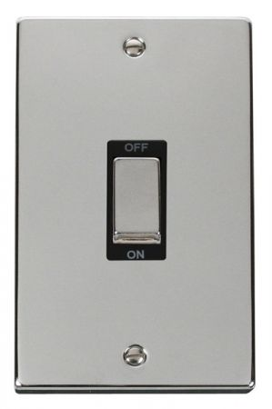 Click Deco Ingot Polished Chrome 45a DP Double Cooker Switch Black Insert VPCH502BK