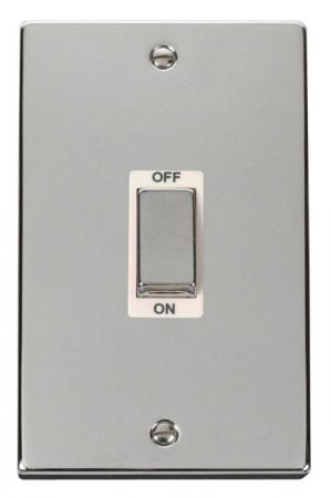 Click Deco Ingot Polished Chrome 45a DP Double Cooker Switch White Insert VPCH502WH