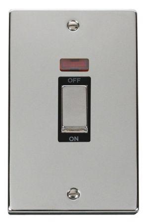 Click Deco Ingot Polished Chrome 45a DP Double Cooker Switch & Neon Black Insert VPCH503BK