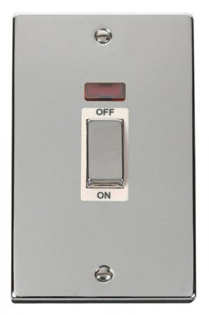 Click Deco Ingot Polished Chrome 45a DP Double Cooker Switch & Neon White Insert VPCH503WH