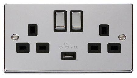 Click Deco Ingot Polished Chrome 13a Double Socket With USB Black Insert VPCH570BK