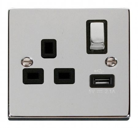 Click Deco Ingot 13A Polished Chrome Single Socket with USB Black Insert VPCH571BK