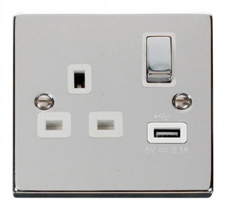 Click Deco Ingot 13A Polished Chrome Single Socket with USB White Insert VPCH571WH