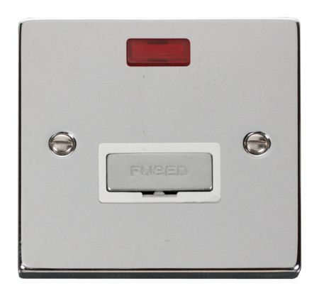 Click Deco Ingot Polished Chrome Unswitched Fused Spur C/W Neon White Insert VPCH753WH