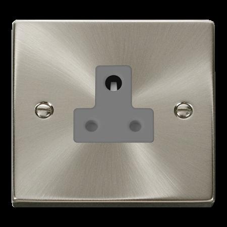 Click Deco Ingot Satin Chrome 5A Round Pin Socket Grey Insert   VPSC038GY
