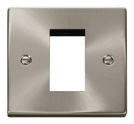 Click Deco Single Aperture Satin Chrome Unfurnished New Media Plate VPSC310