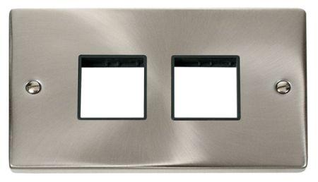 Click Deco (2+2) Switch Aperture Satin Chrome Unfurnished Plate Black Insert VPSC404BK