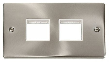Click Deco (2+2) Switch Aperture Satin Chrome Unfurnished Plate White Insert VPSC404WH