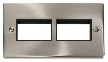 Click Deco (3+3) Switch Aperture Satin Chrome Unfurnished Plate Black Insert VPSC406BK