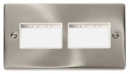Click Deco (3+3) Switch Aperture Satin Chrome Unfurnished Plate White Insert VPSC406WH