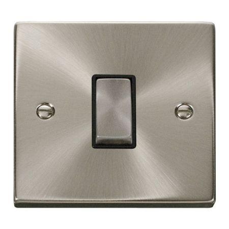 Click Deco Ingot Satin Chrome 1 Gang Light Switch Black Insert VPSC411BK