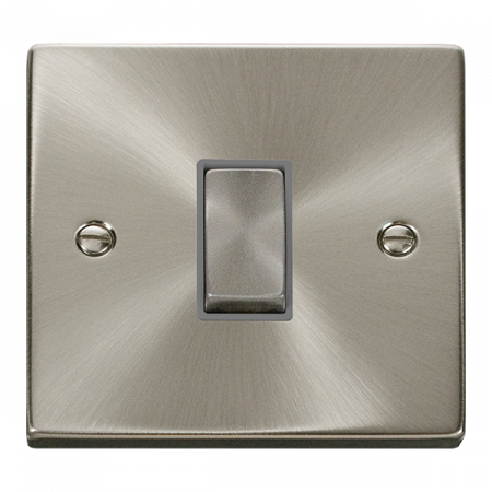 Click Deco Ingot Satin Chrome 1 Gang Light Switch Grey Insert | VPSC411GY