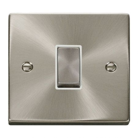 Click Deco Ingot Satin Chrome 1 Gang Light Switch White Insert VPSC411WH