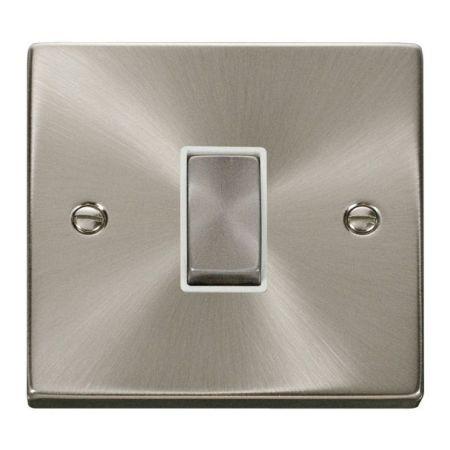 Click Deco Ingot Satin Chrome 1 Gang Intermediate Switch White Insert VPSC425WH
