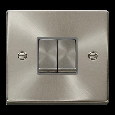 Click Deco Ingot Satin Chrome 2 Gang Light Switch Grey Insert   VPSC412GY