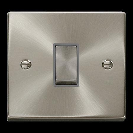 Click Deco Ingot Satin Chrome 1 Gang Intermediate Switch Grey Insert | VPSC425GY