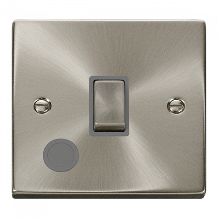 Click Deco Ingot Satin Chrome 20a DP Switch C/W Flex Outlet Grey Insert   VPSC522GY