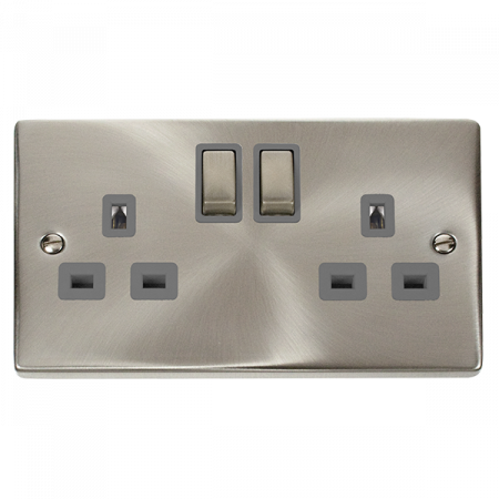 Click Deco Ingot Satin Chrome 13A Double Socket Grey Insert   VPSC536GY