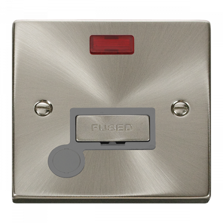 Click Deco Ingot Satin Chrome Unswitched Fused Spur Flex Outlet & Neon Grey Insert   VPSC553GY