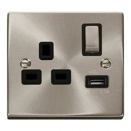 Click Deco Ingot 13A 1G Switched Socket with USB Outlet Black Insert VPSC571BK