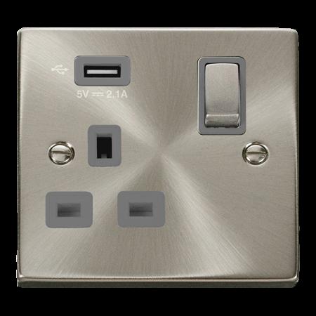 Click Deco Ingot Satin Chrome 1G 13A Switched Socket & USB Grey Insert | VPSC571UGY