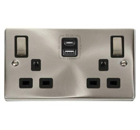 Click Deco Ingot Satin Chrome 2G 13A Switched Socket & TYPE A & C USB Grey Inset   VPSC586BK
