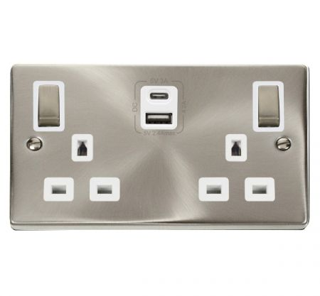 Click Deco Ingot Satin Chrome 2G 13A Switched Socket & TYPE A & C USB White Inset | VPSC586WH